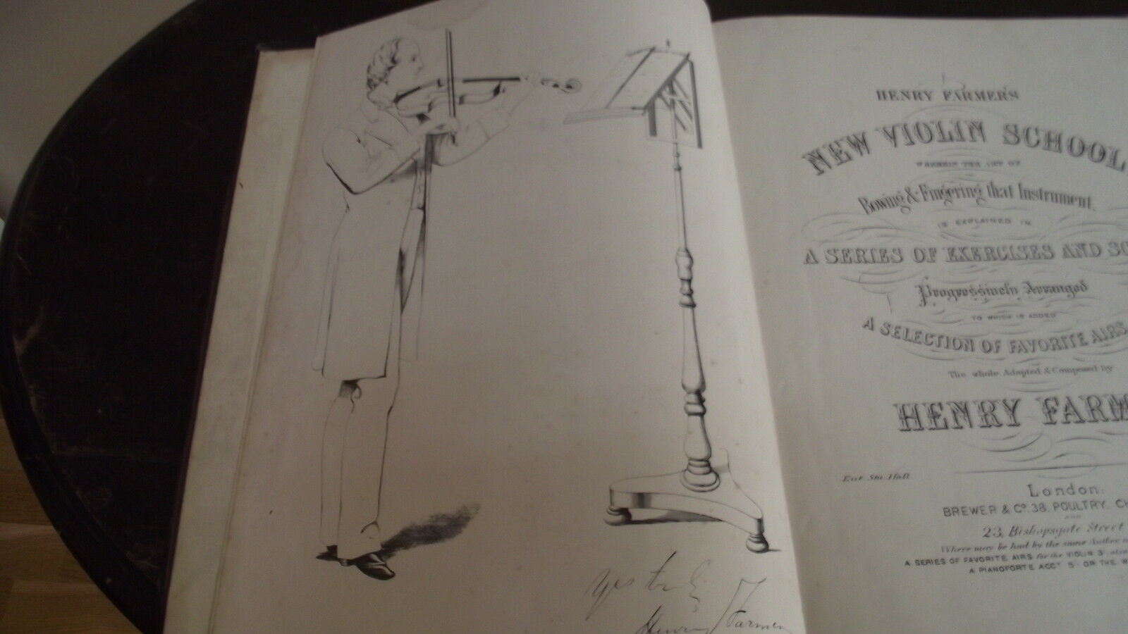 Henry farmers new violin school .victorian book  (large illustration of author )