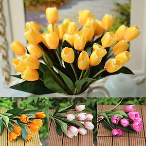 1 Bouquet 9 Heads Fake Tulip Artificial Silk Flower Home ...