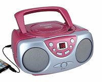 Sylvania Srcd243 Portable Cd Player With Am/fm Radio, Boombox (pink) on sale