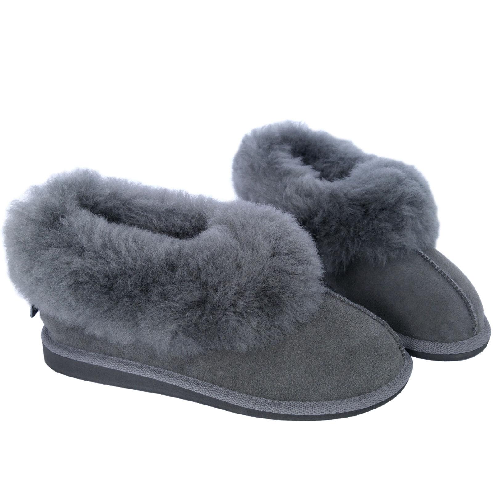 NUOVO grigio di alta qualità Deluxe Donna Vera Pelle Di scamosciata Pecora Pantofole in Pelle scamosciata Di suola rigida 4f71e9