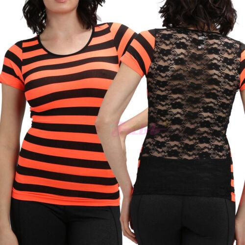 Women Stripe Tops Floral Lace Back T-Shirt Slim Fit Mesh Tee Shirt Short Sleeves
