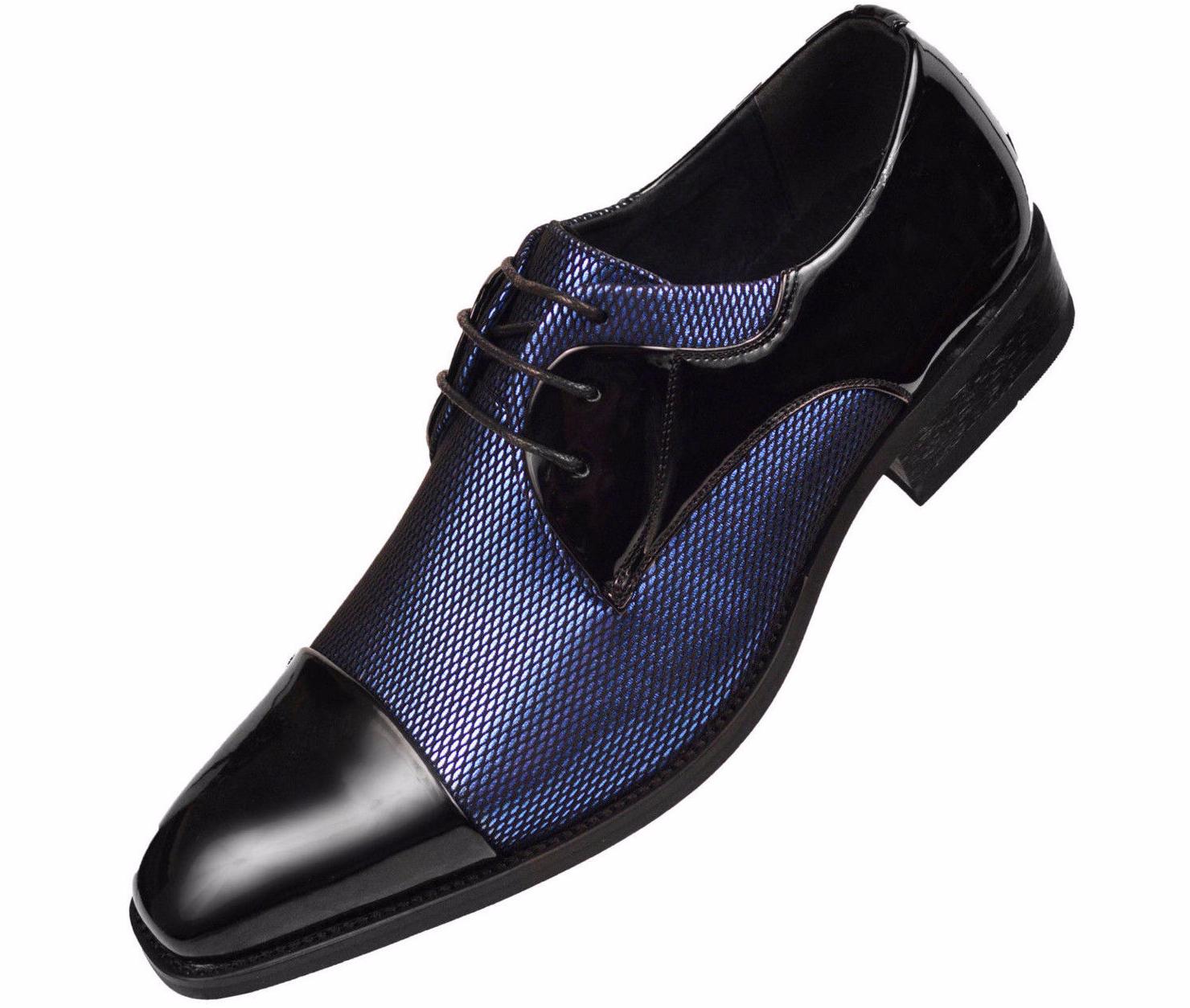 10.5 Amali Royal bluee Fishnet Tuxedo Oxford Dress shoes Patent Cap Draper-052