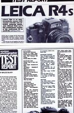Leica R4s & R4 Mot  1984 , 1981 Amateur Photography Magazine Camera Test Reports
