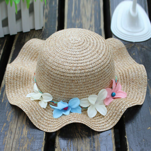 Lovely Girls Summer Baby Flower Breathable Hat Straw Sun Hat Kids Hats Boy Hats