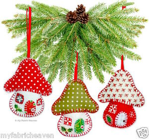 Felt Toadstool House Christmas Tree Decoration Ornament Easy Sewing