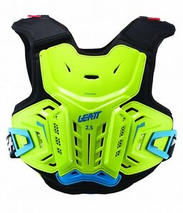NEW LEATT CHEST PROTECTOR 2.5 JUNIOR BODY ARMOUR LIME BLUE YOUTH KIDS CHILD NEW
