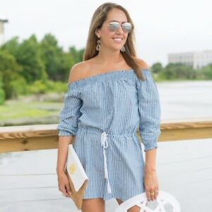 04f820f30aeb Image is loading MudPie-Oliver-Chambray-Off-Shoulder-Striped-Romper-Size-