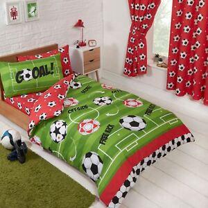 Football-Rouge-Junior-Couverture-Housse-et-D-039-Oreiller-Set-Vert-Enfants-Bebe