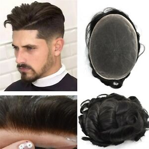 Mens-Toupee-Swiss-amp-French-Lace-100-Real-Human-Hair-Replacement-Poly-Hairpiece-Wig
