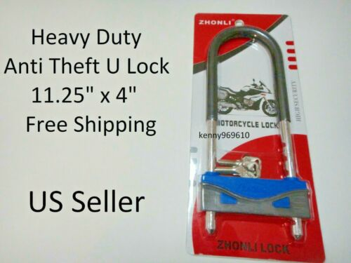 "U Heavy Lock Bike Motorcycle Bicycle Scooter anti theft long 11.25/""x4/"" US Seller"