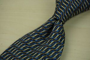 Ermenegildo-Zegna-Royal-Blue-Light-Brown-Spiral-Spring-100-Silk-Tie