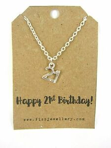 Happy 21st Birthday Silver Plated Necklace on Message Gift Card ...