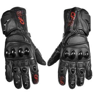 Men S Women S Hard Knuckle Full Length Gauntlet Style Leather Motorcycle Gloves Ebay