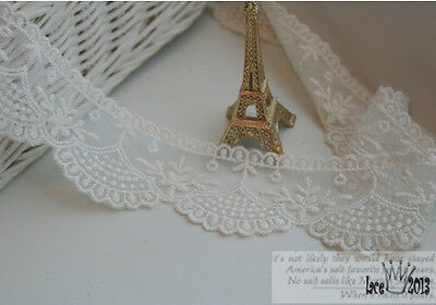 """5Yds Embroidery scalloped mesh tulle eyelet lace trim 1.8"""" YH1379 laceking2013"""