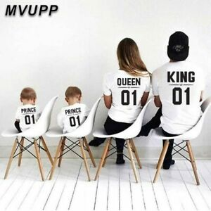 Family Matching T Shirt Clothes Father Mother Daughter Son Queen Princess Prince