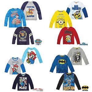 Ragazzi-Manica-lunga-T-shirt-Top-PORTABORSE-PAW-PATROL-POKEMON-Eta-2-12-cotone-ufficiale