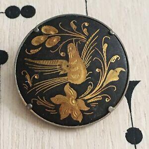 Broche-Vintage-Damasquine-Tolede-Colombe-Toledo-Damascene-Brooch