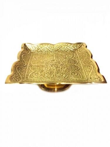 Goldene Messingteller Messing Schale Geschirr Teller Mediterran Eckig Deko Bunt