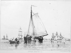DUTCH-SCHUYT-Cargo-Boat-Blackwell-Beach-Original-Etching-Print-by-E-W-Cooke