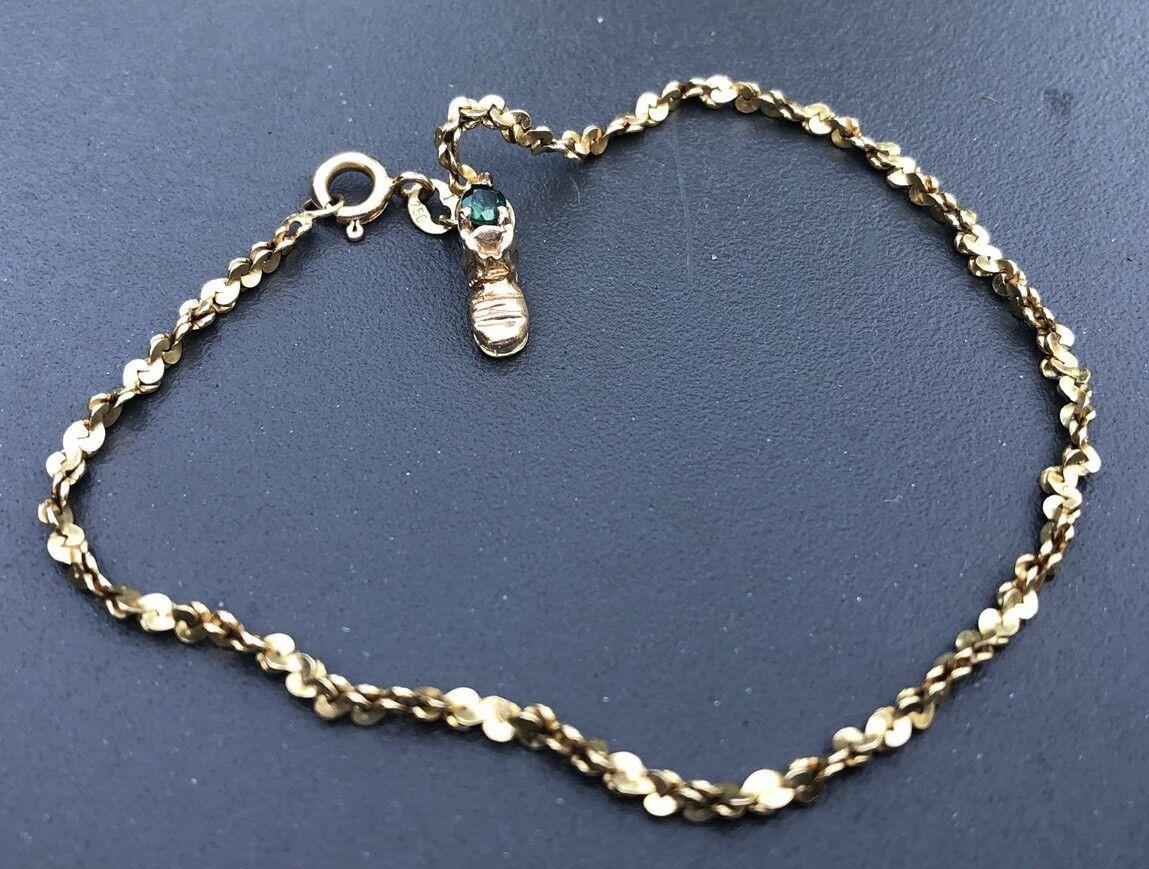 18 Kt Yellow gold Bracelet  Chain Boots Charm Emerald 0.15ctw, 5.2grams