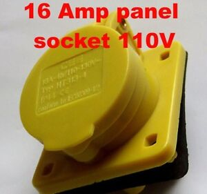 16a 110v Yellow Panel Socket Outlet Ht113 4 16 Amp Generator Plant