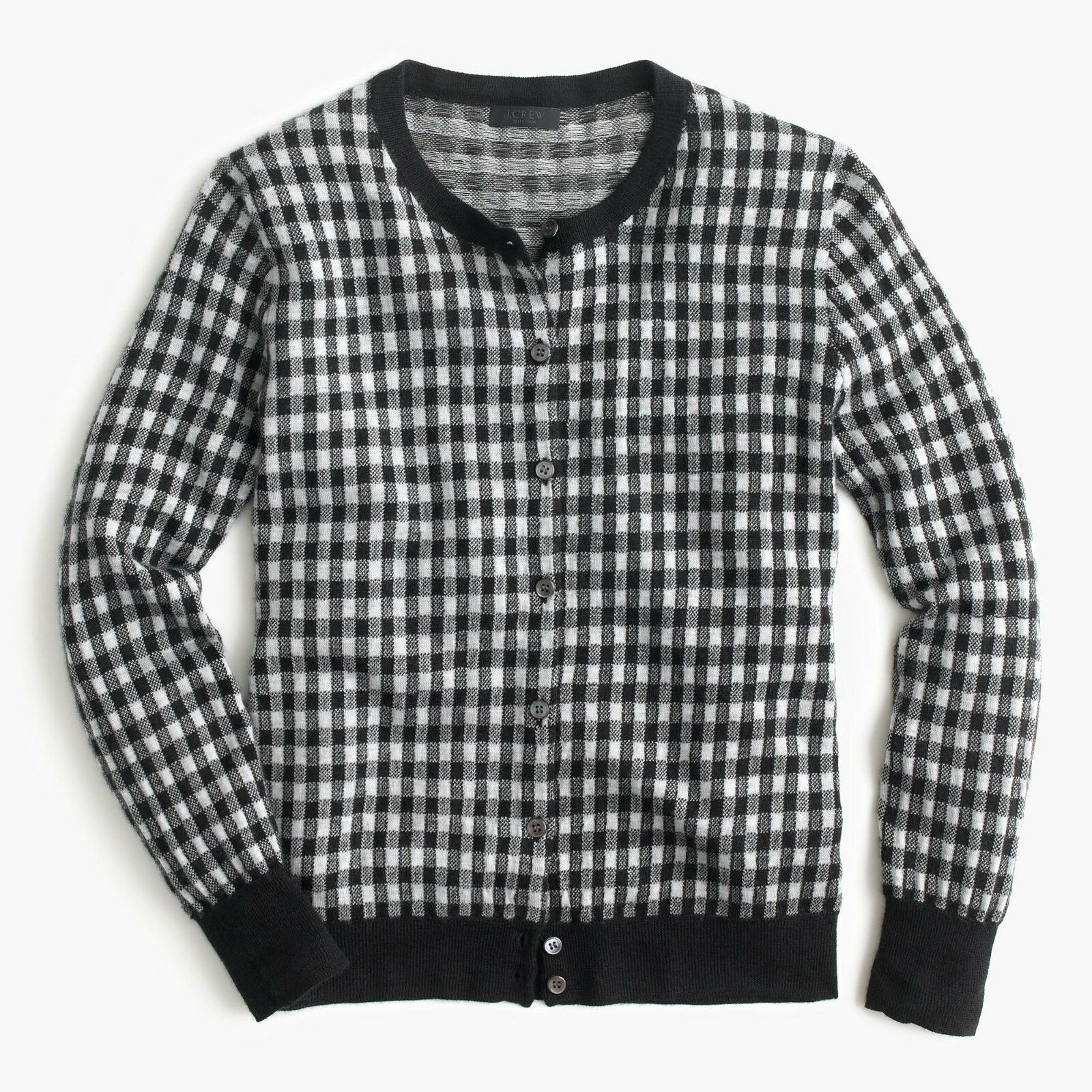J.CREW COLLECTION Italian featherweight cashmere cardigan sweater in gingham S