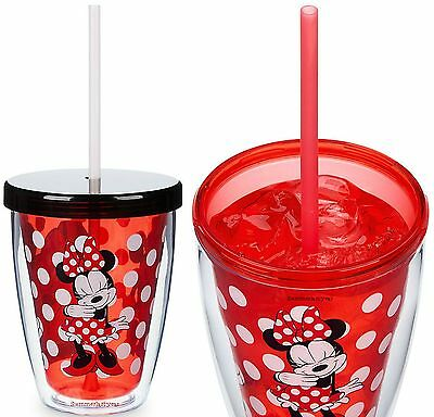 """Disney Store Minnie Mouse /""""MINNIE/"""" Tumbler with Color Changing Straw New!"""