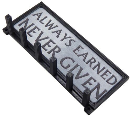 Always Earned Never Given Spartan Race Sports Medal Holder Hanger Display Rack