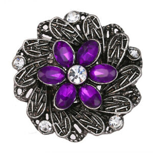 10pcs-Flower-Crystal-Chunk-Charm-Snap-Button-Fit-18mm-Drill-Noosa-Jewelry-N989