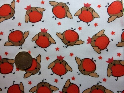 half metre of polycotton with fun robins in brown and red on white