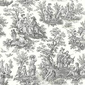 Image Is Loading Waverly Light Black Colonial Toile On Soft White