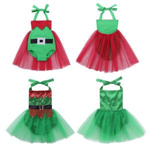 cfe48e24e4a8 Kids Baby Girls Christmas Elf Costume Halter Tutu Dress Romper Xmas ...