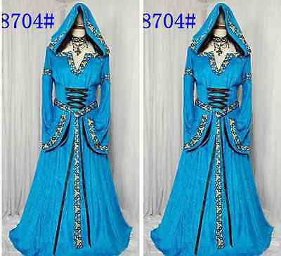 2015NEW Hofadel Renaissance Medieval Game Costume Cosplay Dress Gown Cape Hoodie