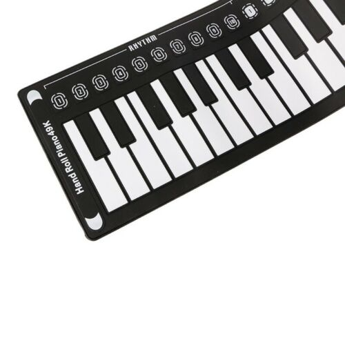 Hand Roll Up Folding Piano Portable Keyboard for Kids Music Beginner White