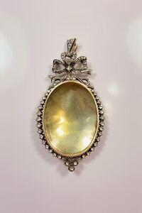 Antique-Victorian-14k-Gold-Diamond-Silver-Locket-Pendant-Made-in-1883