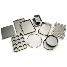 12-Piece Bakeware Set Non-Stick Pizza Cookie Muffin Pan Baking Cookie Sheet New