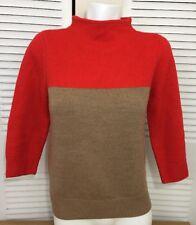 J.CREW Women's Knit Orange Brown Long Sleeve Sweater 100% Merino Wool Sz S Small