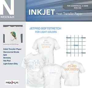 Neenah JetPro SofStretch Inkjet IronOn Stretchy Transfer Paper 8.5x11 (5 Sheets)