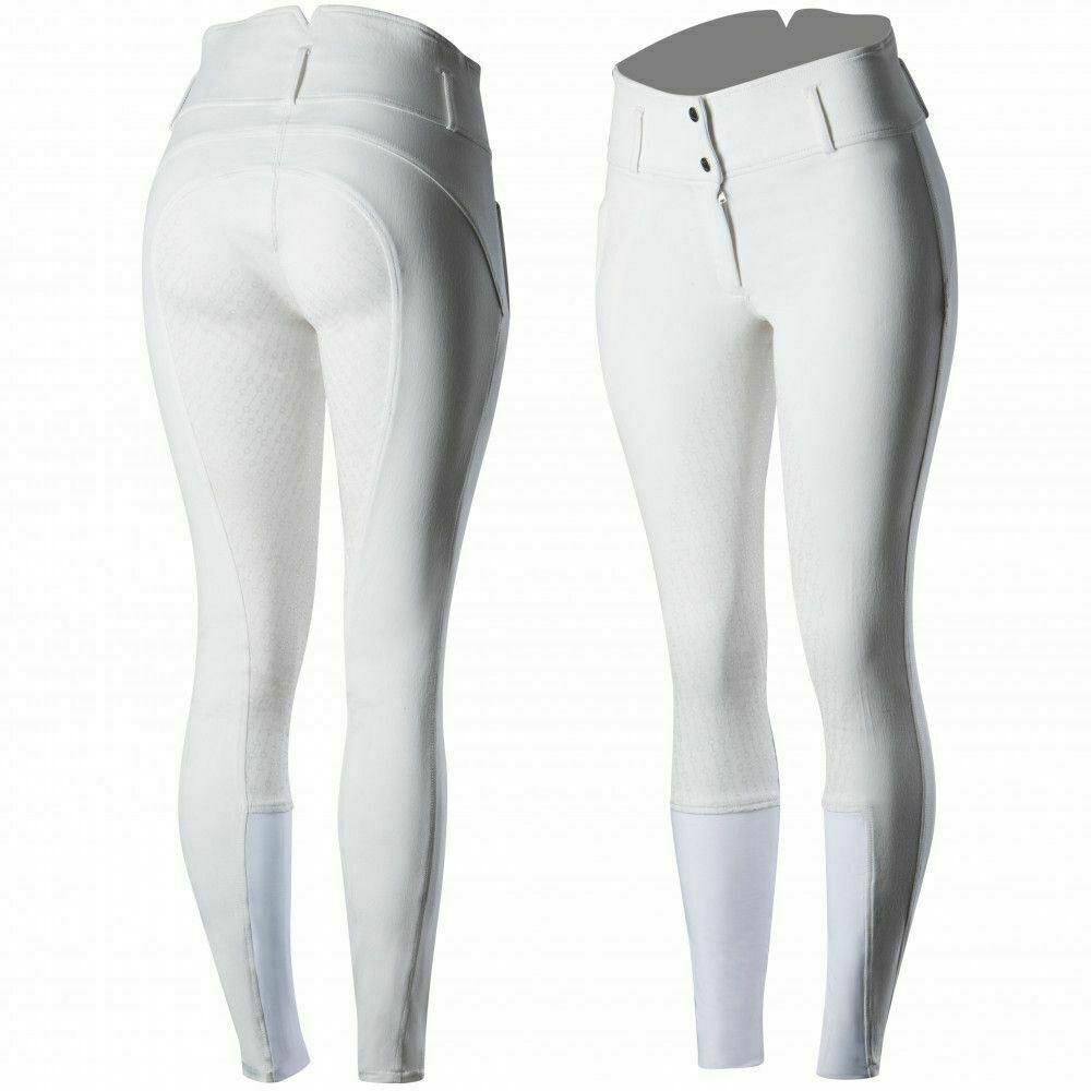 Horze Daniela Para Mujeres Algodón Pantalones de montar de asiento completo de silicona con cintura alta