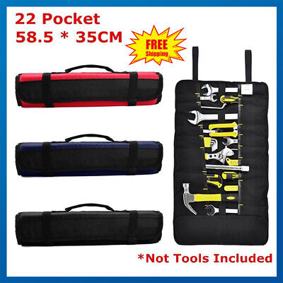 Pockets Canvas Spanner Wrench Tool Roll Up Storage Bag Organizer Pouch Case