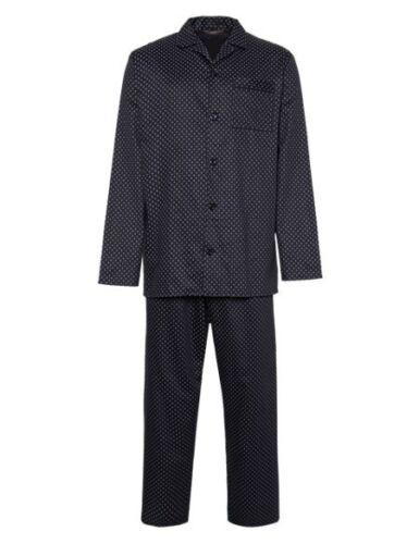 New M/&S Navy Blue Red Spot Pure Cotton Pyjamas Sz M L