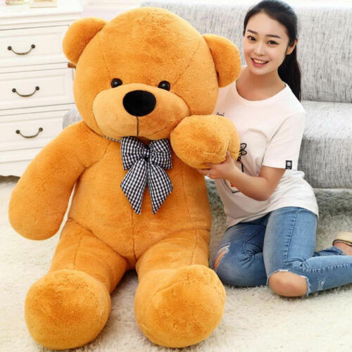 Giant 80cm Cute Plush Teddy Bear Huge Light Brown Soft 100% Cotton Toy gift B69