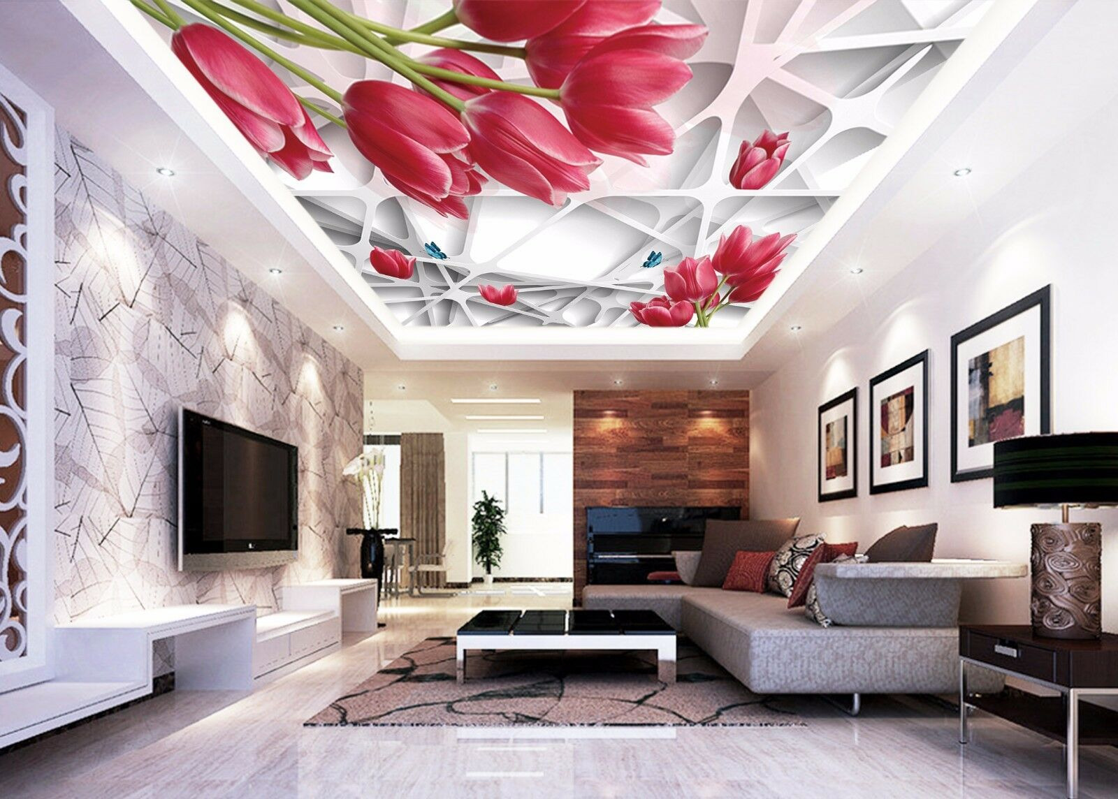 3D rot Tulips 74 Ceiling WallPaper Murals Wall Print Decal Deco AJ WALLPAPER