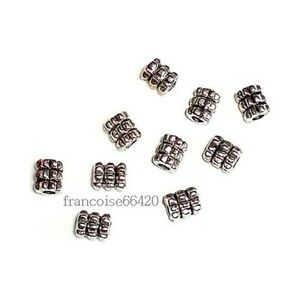 100-Perles-intercalaire-spacer-Cylindre-rond-6-5x5x5mm-Apprets-creat-bijoux-A136