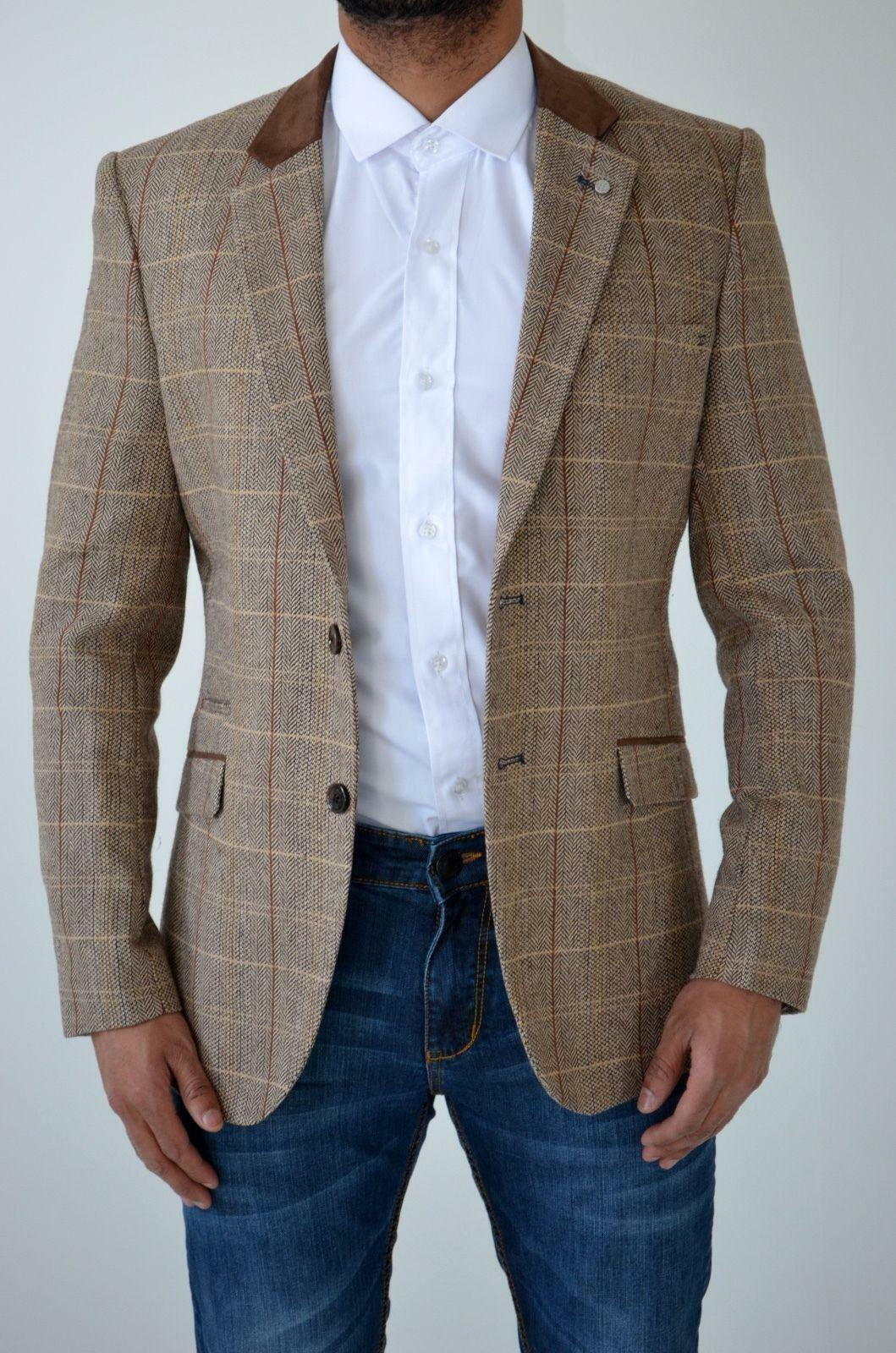 CAVANI Homme Tweed Carreaux à Chevrons à Carreaux Tweed Vintage TailoRouge  Blazer Jacket Costume 76c322