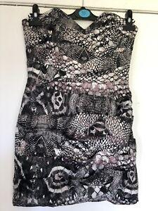 Lipsy-Grey-Pink-Snakeskin-Print-Strapless-Silky-Bodycon-Party-Dress-Size-10