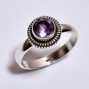 925-Sterling-Silver-Ring-Size-US-8-25-Natural-Amethyst-Gemstone-Jewelry-R3690
