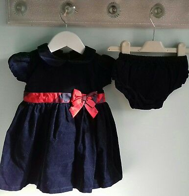 Baby Girls Gorgeous Navy Christmas Party Dress By Matalan Size 6-9 Months b125c6319