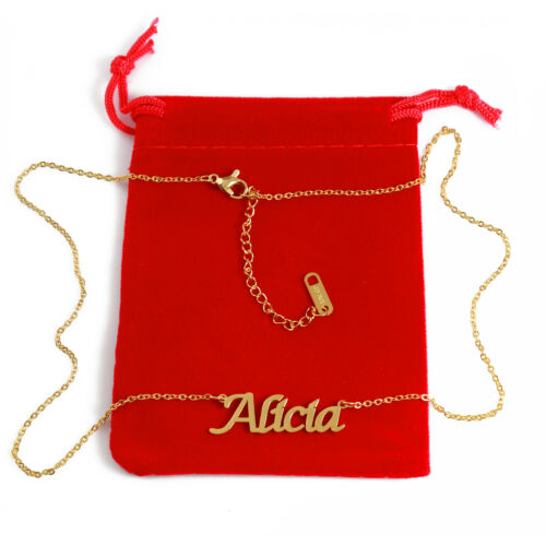 ALICIA Custom Name Necklace Personalised 18ct Gold Plated Silver Christmas