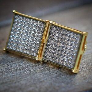 Image Is Loading Men 039 S Large Square 14k Gold Sterling